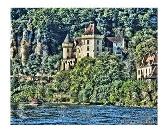 Fine Art Digital Print of La Roque Castle and Boat