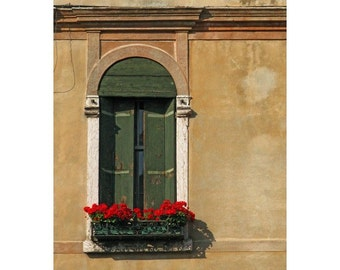 "Fine Art Color Architecture Photography of Shutters - ""Green Shuttered Window in Bassano"" (Italy)"