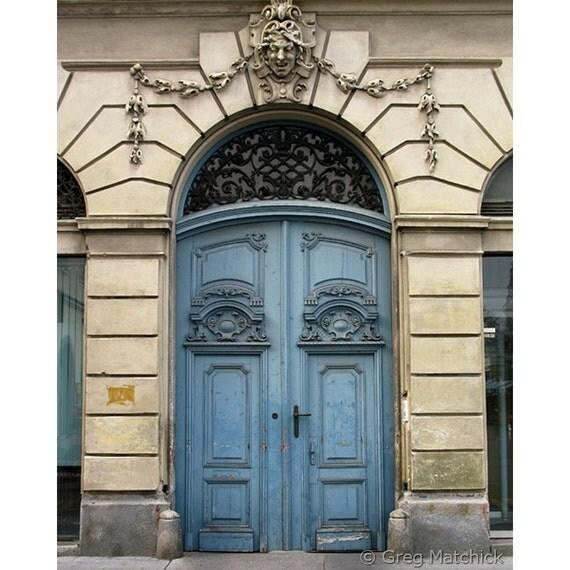 "Fine Art Color Architecture Photography of Blue Doors - ""Blue Doors in Ljubljana"" (Slovenia)"