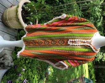 Terry Cloth Beach Poncho MOD Pattern Lime Green, Pink, and Orange BOHO Beach or Pool Coverup Vintage Summer Fashion Groovey Cabana Wear