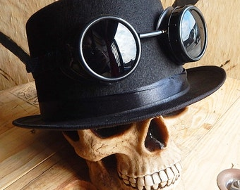 STEAMPUNK GOGGLES - 2 pc Black Felt Steampunk Top Hat with Matching Removable Goggles