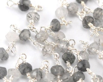 Faceted Rutilated Quartz and Sterling Silver Wrapped Chain
