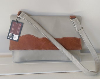 Leather - Cream and Tan Leather Satchel