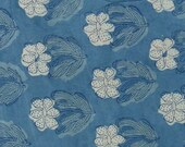 Block Printed Cotton Fabric - Indigo - Floral Motifs - 1 Yard ctjp246