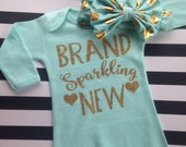 Brand sparkling New Baby Gown Hospital outfit baby shower gift take home outfit photo prop gift mom Brand sparkling new glitter GOWN ONLY
