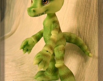 RESERVED- Crikey the Crocodile - blushed ball joint doll / BJD - Green resin - Only one available!