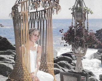 Vintage Macrame Pattern Home Decor Hanging Chair Butterfly Shawl Instant Download (2) PDF New Ideas with Macrame Full Booklet 15 Projects