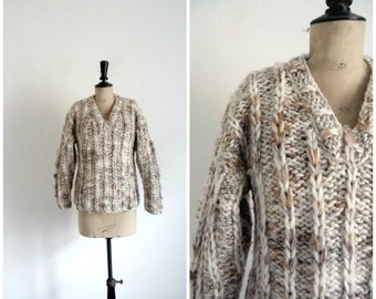 Vintage 80s Wool Knitted Hand Heather Beige Sweater / Size M