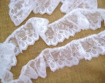 3 inch  white ruffled  lace   8 yards