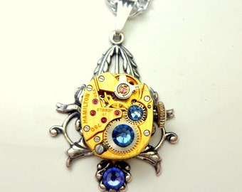 Vintage Gold Watch Movement, Ruby Jeweled,Steampunk Necklace,Steam Punk Goth,Gothic Jewellry,Edwardian Fantasy,Neo Victorian,Blue Crystals