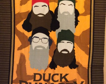 A Duck Dynasty With Si, Willie, Jace, and Phil Tossed Fleece Fabric Panel Free US Shipping