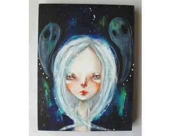 folk art Original girl painting mixed media art painting on wood canvas 8x6 inches - Ghost Stories