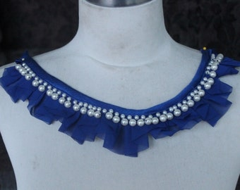 Cute embroidered  and  beaded chiffon  applique blue color