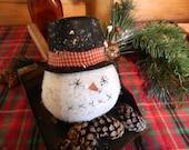 Primitive Christmas Winter Snowman Head Ornie-FAAP