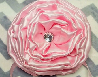 """3 Beautiful Large Handmade Satin Roses 6"""" Wide with Bling and Ribbon tie for crib and Toddler Bed decorations"""