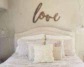 Large Dark Stained Love Word Wood Cut Wall Art Sign Decor