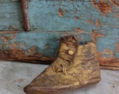 Vintage Antique Gold Leather Primitive Baby Booty