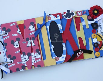 Disney scrapbook, Disney vacation, Mickey Mouse scrapbook, pre-made photo word album-MIC1
