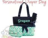 Personalized Diaper Bag -Mint Trellis Monogrammed Baby Tote, Changing Pad, Mommy Bag