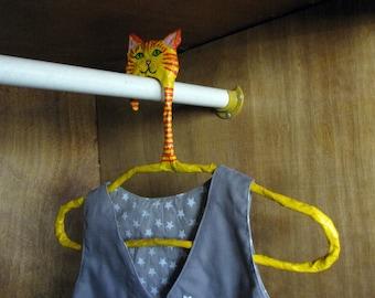 kids decor, decorative hangers, animal hanger, dress up hanger, designer hanger, hangers, cat decorations, Wall Hanging, unique hanger, rack
