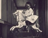 A Brand New ROCKING HORSE For This Little Girl Photo Postcard Circa 1910s