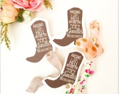 Single Set 1 card Hair Ties Bachelorette Party Favors KIT Accessories Bridesmaids Brown Boot Cowboy Western Rustic Southern