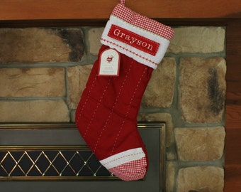 Red Gingham Toe Pottery Barn Quilted Stocking  ---  Free Monogram
