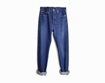 Vintage 90s Levi's 501s Boyfriend Jeans  / 90s Levi's Denim / Button Fly / Dark Wash 501s - W 32 x L 30
