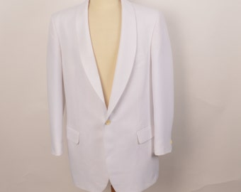 white groom wedding dinner jacket 60s 70s vintage polyester shawl collar sportscoat blazer 42 L men