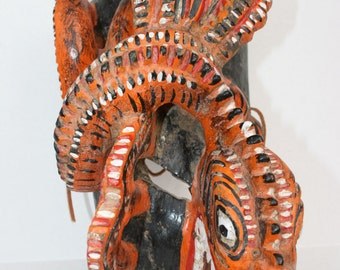 WILD Mexican Mask Plumed Serpent Carved Wood Folk Art