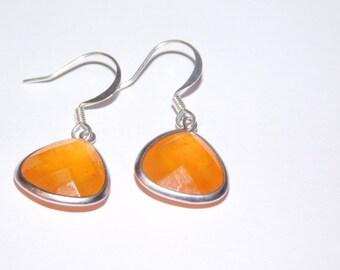 Vintage Sterling Orange Carnelian Dangle Earrings