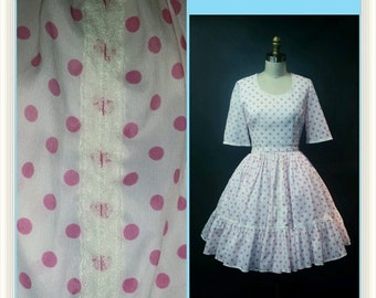 SUMMER HEAT SALE Vintage 1960s Polka Dot Party Dress - Pink Polka Dot and Lace