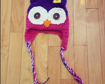 Crochet owl hat. Kids crochet owl hat in any size. You pick colors. Free shipping.