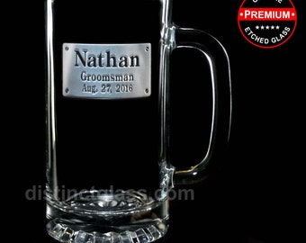 Gifts for Groomsman Best Man Groom Usher - RECTANGLE CREST BEER Mugs - 16 oz Etched Glass Personalized Wedding Beer Mugs - Ships to Canada