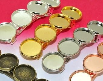 10 Brass Hair Barrette Base- Brass Antique Bronze/ Rose Gold/ Gold/ White Gold/ Silver Plated Bar Barrette W/ Four 12mm Round Bezel Setting