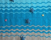 Sea Turtle and Sea Star Blanket, Crochet Crib Blanket, Baby Blanket, Throw, Ready To Ship