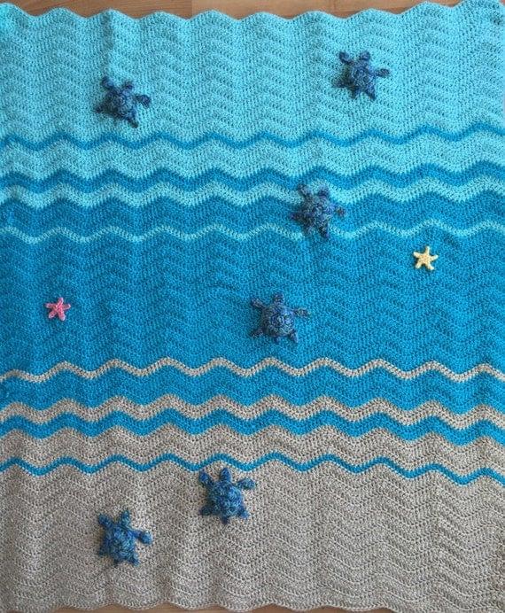 Sea Turtle And Sea Star Blanket Crochet Crib Blanket Baby