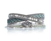 Leather wrap bracelet - reptile leather bracelet - animal print leather jewelry - Swarovski crystal bracelet - rhinestone and leather cuff