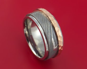 Damascus Steel and Titanium Sleeve with Hammered Copper Inlay Custom Made
