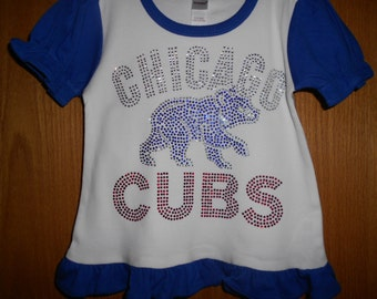 Chicago Cubs  Rhinestone 2 piece outfit