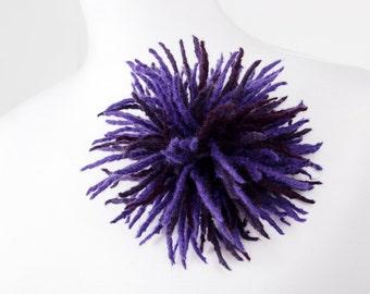 """Felted  flower brooch """"Purple dahlia"""""""