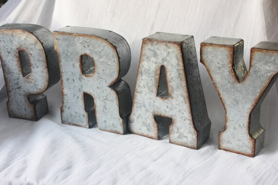 Http Catchmyparty Com Vendors Product Pray Metal Letters Spiritual Inspiration Signs