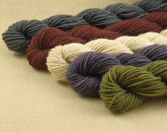 Mini Skeins - Primitive Country - Hand Dyed Fingering Sock Weight Yarn - 100% Superwash Merino Yarn