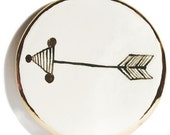 Arrow Dish Rimed with 22K Gold Detailed Handmade Ceramic Dish for Rings or Spoon Rest or Desk Accessory