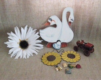 Farmhouse Fun Country Geese & Craft Items / Vintage Wood, Metal and Polyresin Pieces for Craft Project / Cute Country Craft DeStash