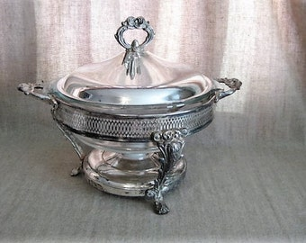 Vintage Covered Silver Plate Casserole Server and Dish  / Casserole with Silver Plated Cover and Warmer Stand