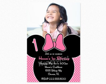 Minnie Mouse Birthday Party Invitation, Pink,  Minnie Mouse Invitations, Polka Dots, Personalized, Printable or Printed