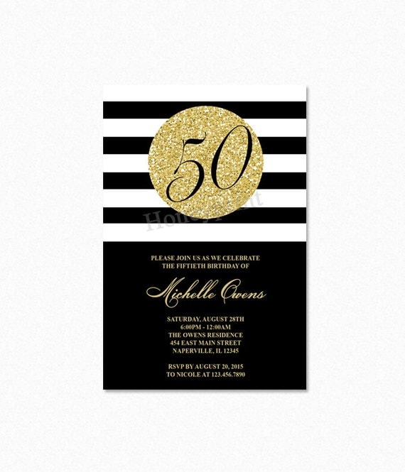 Gold 50th birthday party invitation black and white stripes 50th il570xn filmwisefo Gallery