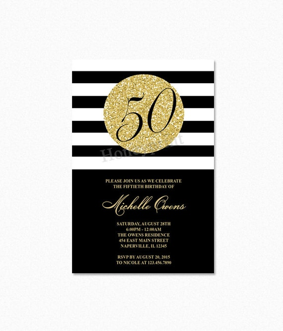 Gold Glitter 50th Birthday Party Invitation 50th Birthday