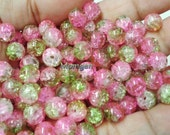 8mm Multicolored Crackle Glass Beads, Glass Beads, 8mm Beads, Beads for jewelries, Crackle glass beads, Beads, Pink Green Beads